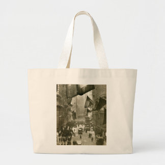 Wall Street Party, end of WW1, 1918 Large Tote Bag