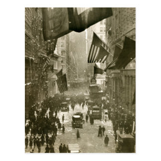 Wall Street Party, end of WW1, 1918 Post Cards