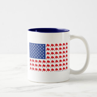 Wall Street Patriotic American Flag Two-Tone Coffee Mug