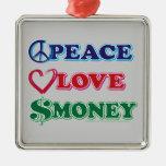 Wall Street/Peace Love Money Square Metal Christmas Ornament