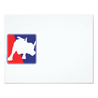 Wall Street Red White and Blue Bull Card