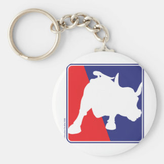 Wall Street Red White and Blue Bull Keychain