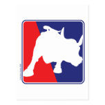 Wall Street Red White and Blue Bull Postcard