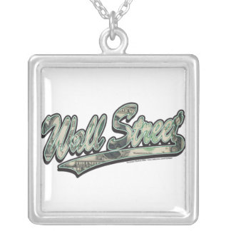 Wall-Street-Script-In-Bill Square Pendant Necklace
