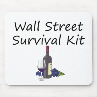 Wall Street Survival Kit Wine Bottle Glass Grapes Mouse Pad
