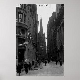 Wall Street Trinity Church Street New York Print