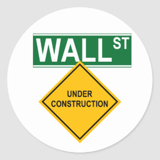 Wall Street Under Construction Classic Round Sticker