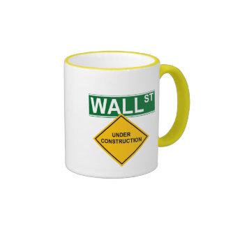 Wall Street Under Construction Ringer Coffee Mug