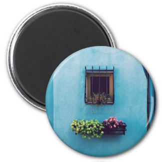 Wall Themed, A Small Window Guarded With Iron Gril 2 Inch Round Magnet