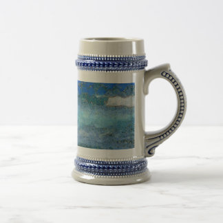 Wall trying to stop waves beer stein