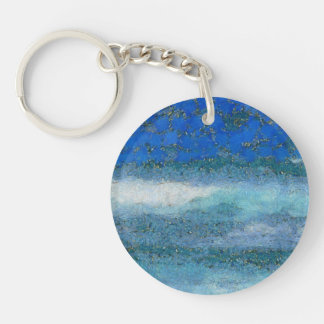 Wall trying to stop waves keychain