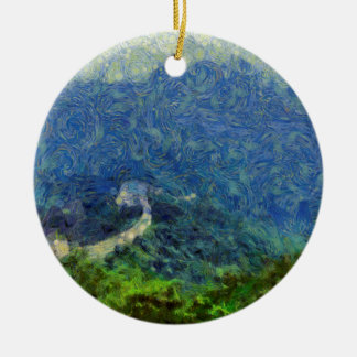 Wall vanishing into the distance ceramic ornament