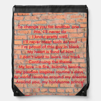 Wall with a Rhyme Drawstring Backpack