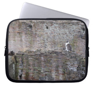 Wall with cats sitting on it laptop sleeve