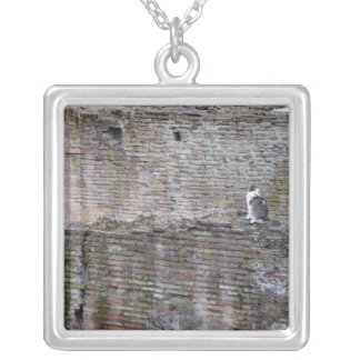 Wall with cats sitting on it silver plated necklace