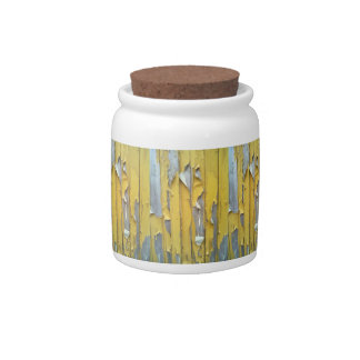 wall yellow flaking paint candy dishes