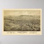 Walla Walla, WA Panoramic Map - 1876 Poster