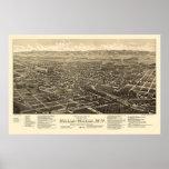 Walla Walla, WA Panoramic Map - 1884 Posters