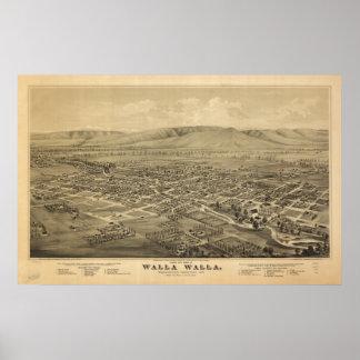 Walla Walla Washington 1876 Antique Panoramic Map Posters