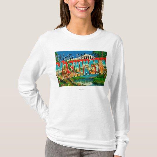 Walla Walla, Washington - Large Letter Scenes T-Shirt