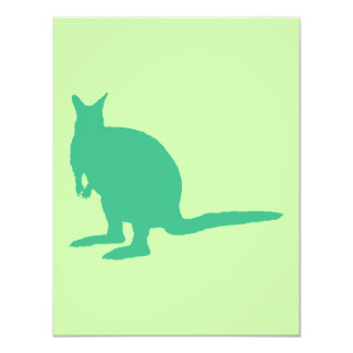 Wallaby. Animal in Green. 4.25x5.5 Paper Invitation Card