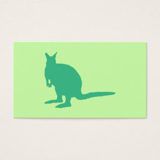 Wallaby. Animal in Green. Business Card