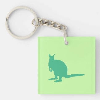 Wallaby. Animal in Green. Keychain