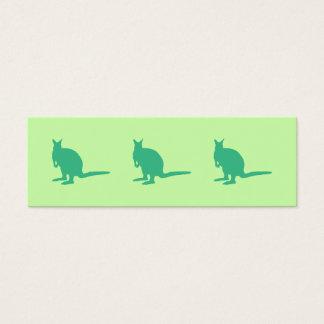 Wallaby. Animal in Green. Mini Business Card