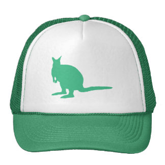 Wallaby. Animal in Green. Trucker Hat