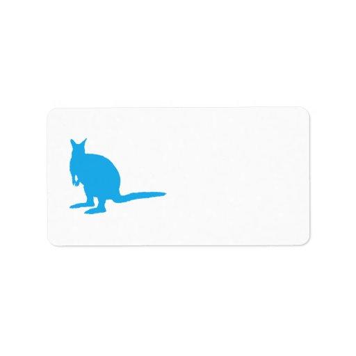 Wallaby. azul etiquetas de dirección