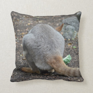 wallaby back view animal throw pillow