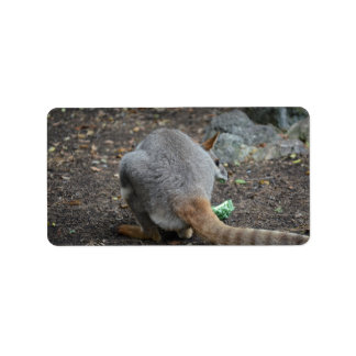 wallaby back view looking over animal custom address label
