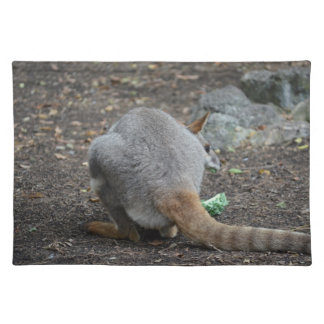 wallaby back view looking over animal placemats