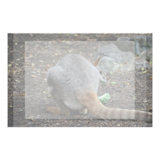 wallaby back view looking over animal custom stationery
