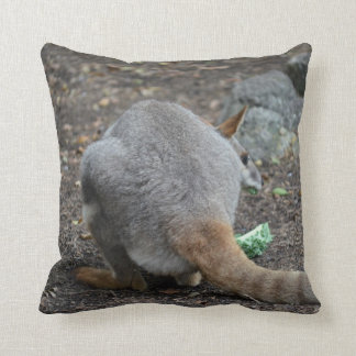 wallaby back view looking over animal throw pillow