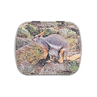 Wallaby colored sketch style camo candy tin