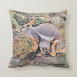 Wallaby colored sketch style camo throw pillow