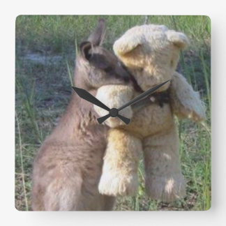 wallaby hugging teddybear Clock