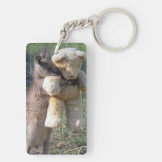 Wallaby hugging teddybear key chain