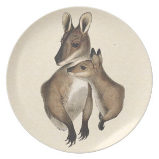 Wallaby Mother and Baby (painted) Melamine Plate
