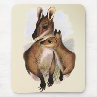 Wallaby Mother and Baby (painting) Mouse Pad