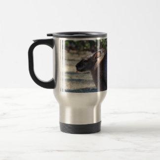 Wallaby que pega la lengua hacia fuera taza de café