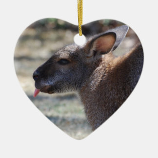 Wallaby Sticking Tongue Out Double-Sided Heart Ceramic Christmas Ornament