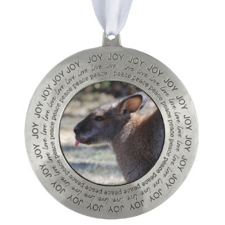 Wallaby Sticking Tongue Out Round Pewter Christmas Ornament
