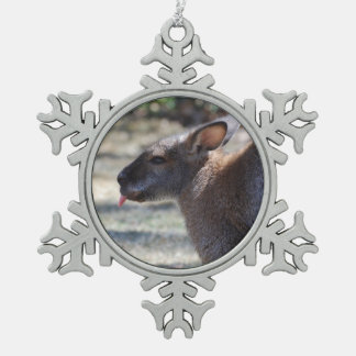 Wallaby Sticking Tongue Out Snowflake Pewter Christmas Ornament