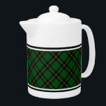 """Wallace Clan Green and Black Hunting Tartan Teapot<br><div class=""""desc"""">Teapot with a classic bright green,  black,  and yellow Scottish plaid pattern from 1980. Traditional family hunting tartan for Clan Wallace and Wallis. Choose from two sizes. Matching teacups and mugs available.</div>"""