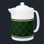 "Wallace Clan Green and Black Hunting Tartan Teapot<br><div class=""desc"">Teapot with a classic bright green,  black,  and yellow Scottish plaid pattern from 1980. Traditional family hunting tartan for Clan Wallace and Wallis. Choose from two sizes. Matching teacups and mugs available.</div>"