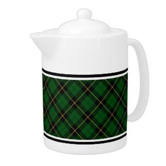 Wallace Clan Green and Black Hunting Tartan Teapot