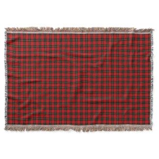 Wallace Clan Red and Black Scottish Tartan Throw Blanket