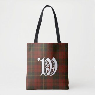 Wallace Clan Tartan Monogram Tote Bag